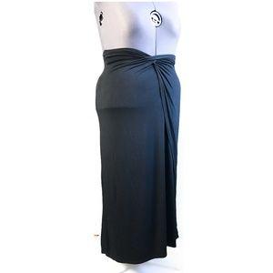 Bisou Bisou Black Faux Wrap Maxi Skirt, XL :84